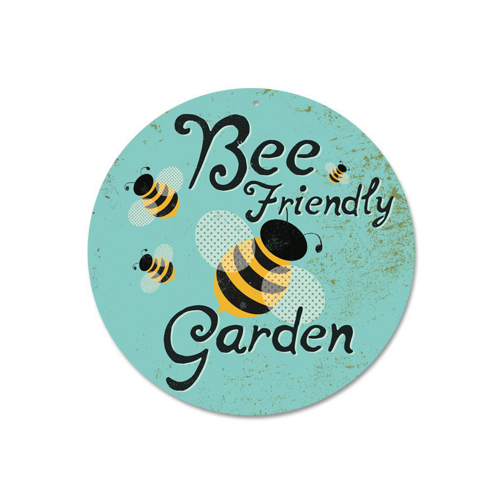 "Bee Friendly Garden 9"" Round Sign - Sky"