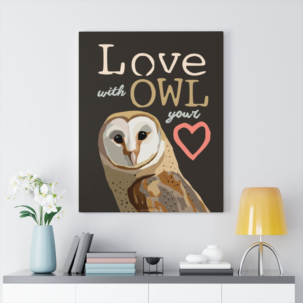 Love With Owl Your Heart Canvas Gallery Wrap