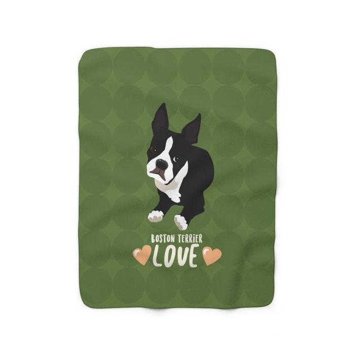 Boston Terrier Sherpa Fleece Blanket