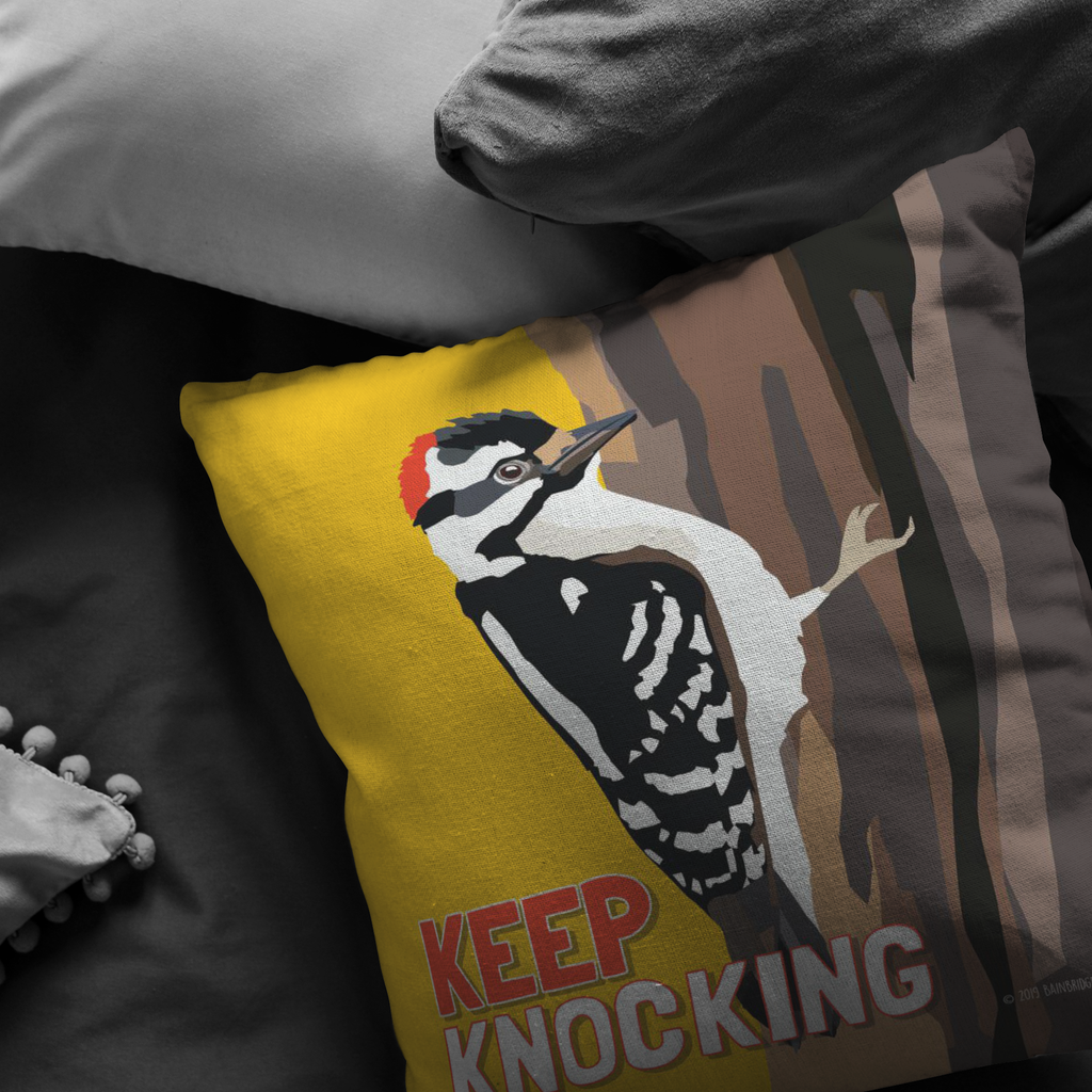 Keep Knocking (Downy Woodpecker) Pillow