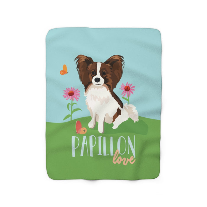 Papillon Love Sherpa Fleece Blanket