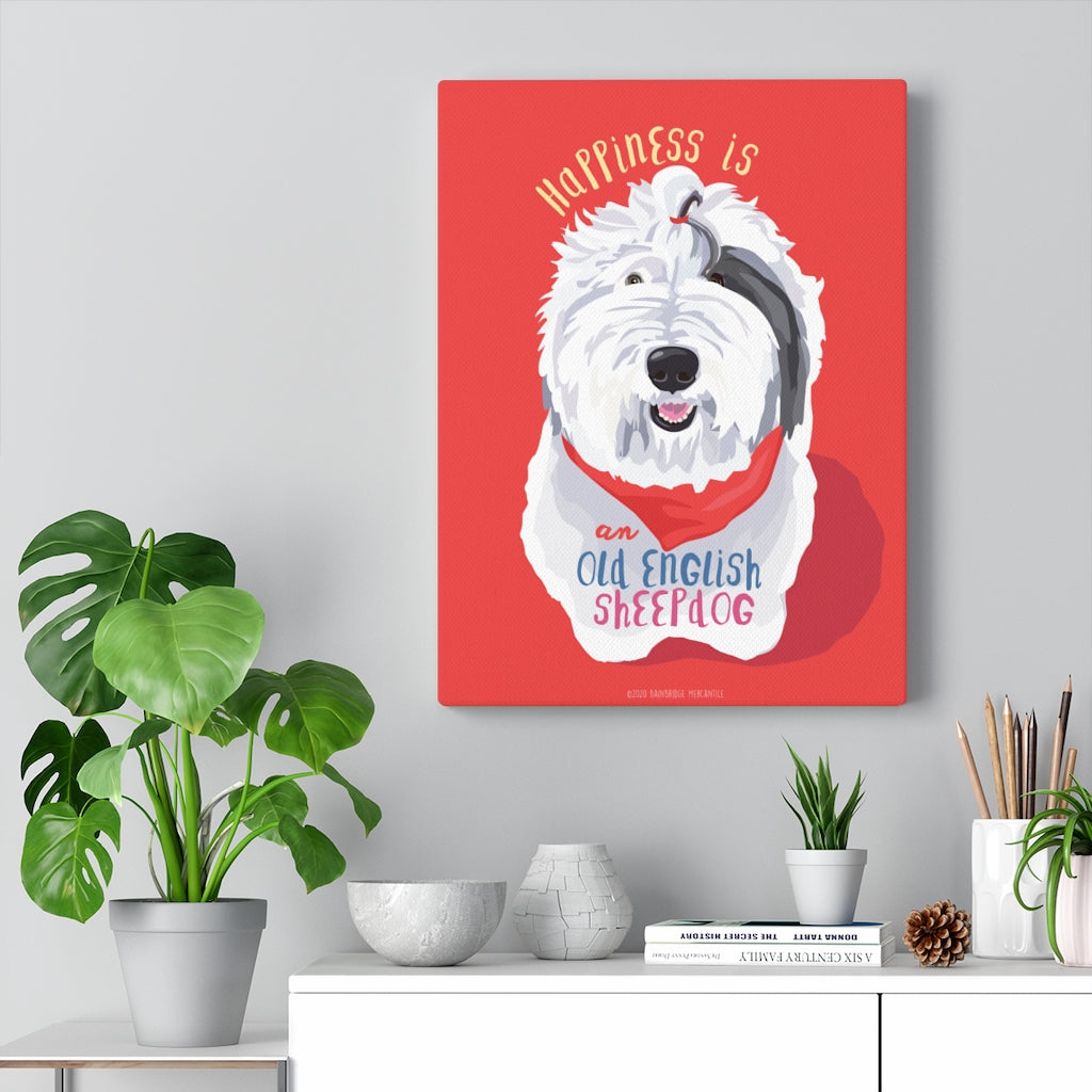 Old English Sheepdog Canvas Gallery Wrap