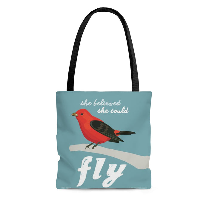 She Believed She Could Fly (Scarlet Tanager) Tote Bag