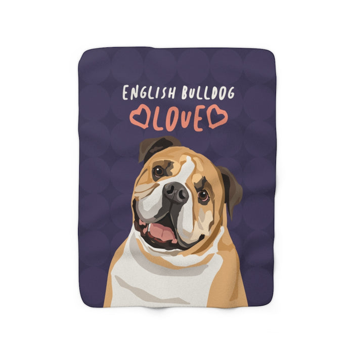 English Bulldog Sherpa Fleece Blanket