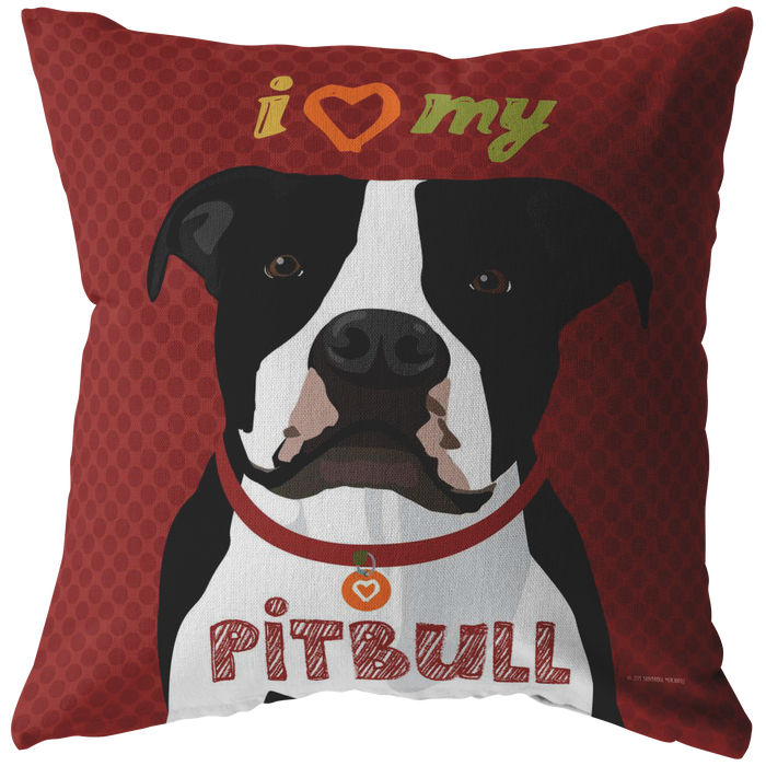 Pit Bull (Black & White) Pillow