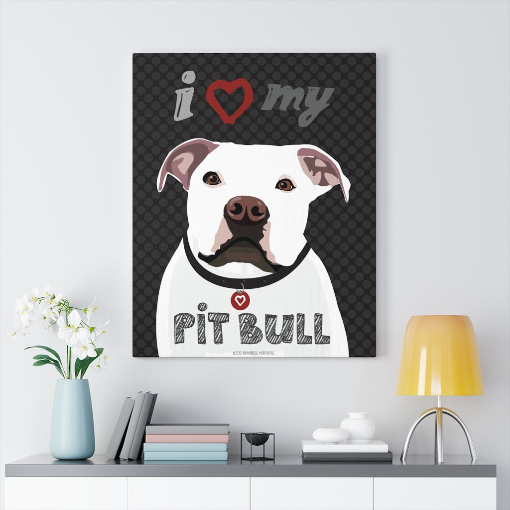 Pit Bull (White) Canvas Gallery Wrap