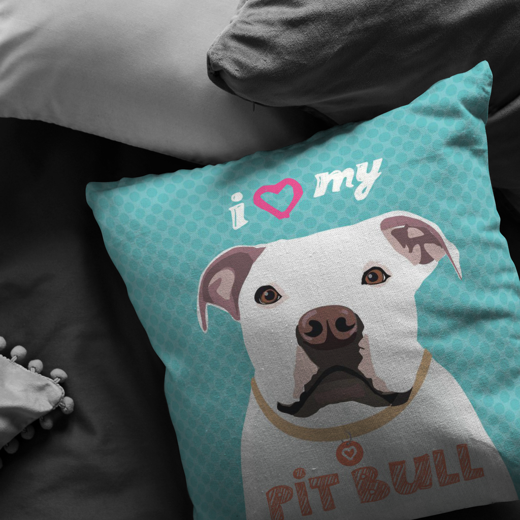 Pitbull (White Dog) Pillow