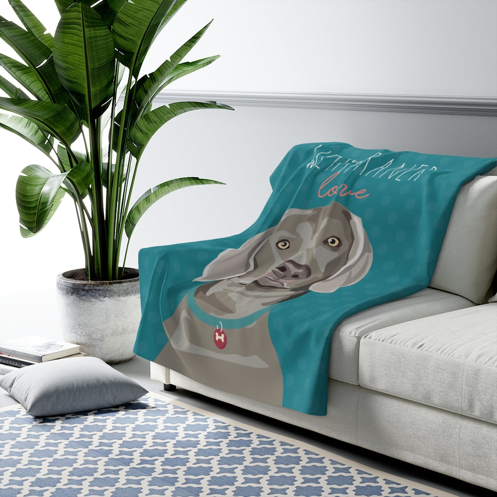 Weimaraner Love Sherpa Fleece Blanket