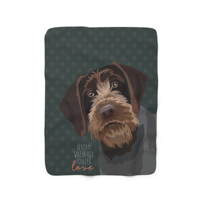 German Wirehaired Pointer Love Sherpa Fleece Blanket