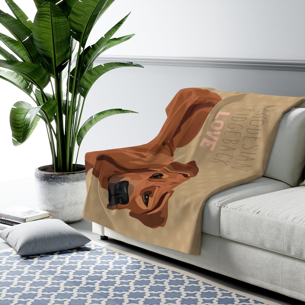 Rhodesian Ridgeback Love Sherpa Fleece Blanket