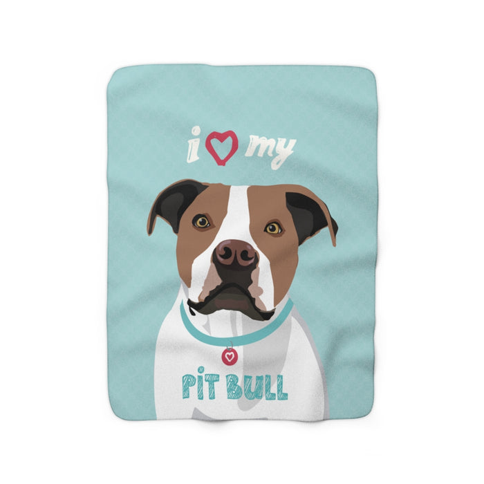 Pit Bull (brown & white) Sherpa Fleece Blanket