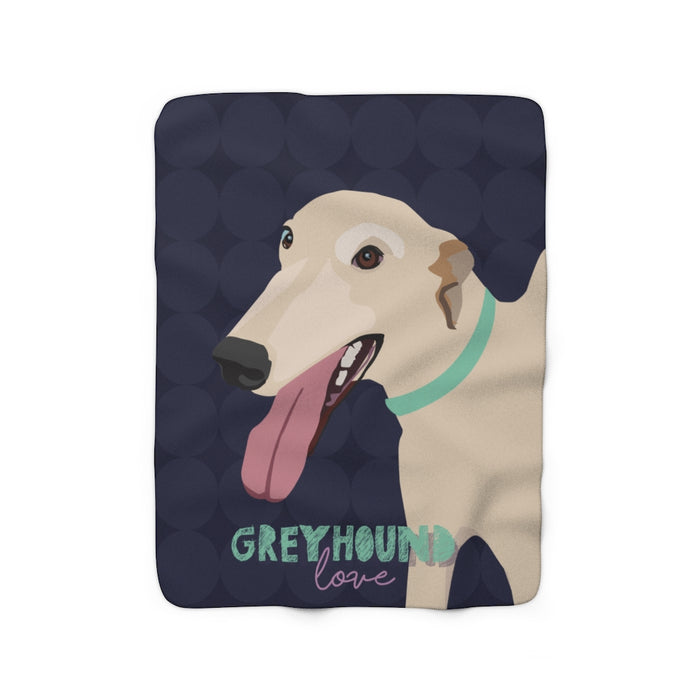 Greyhound Love Sherpa Fleece Blanket