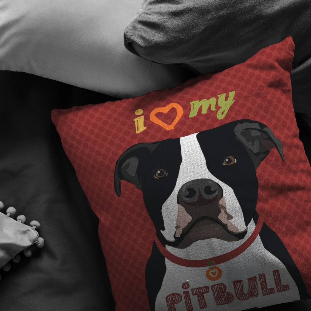 Pitbull (Black & White Dog) Pillow