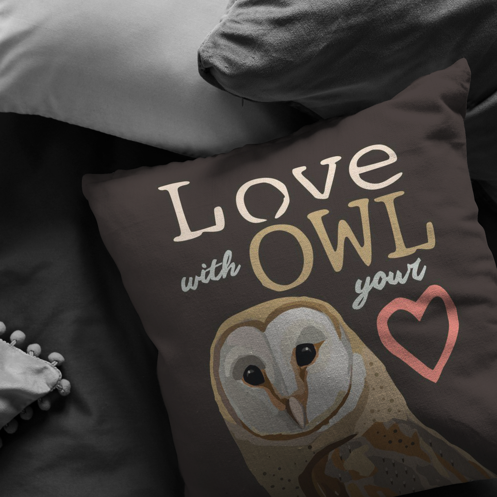 Love with Owl Your Heart (Barn Owl) Pillow