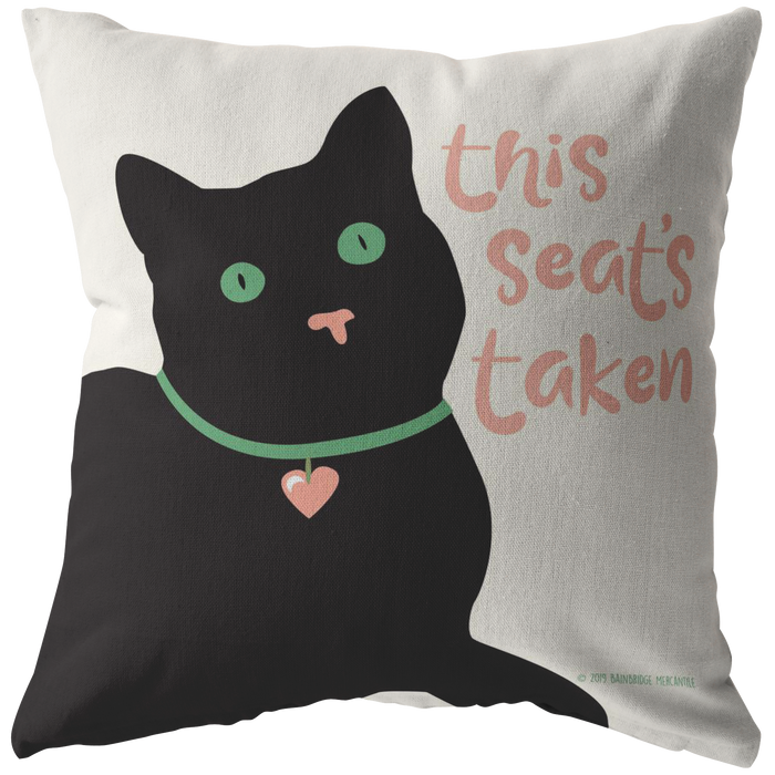 This Seat's Taken (Black Cat) Pillow