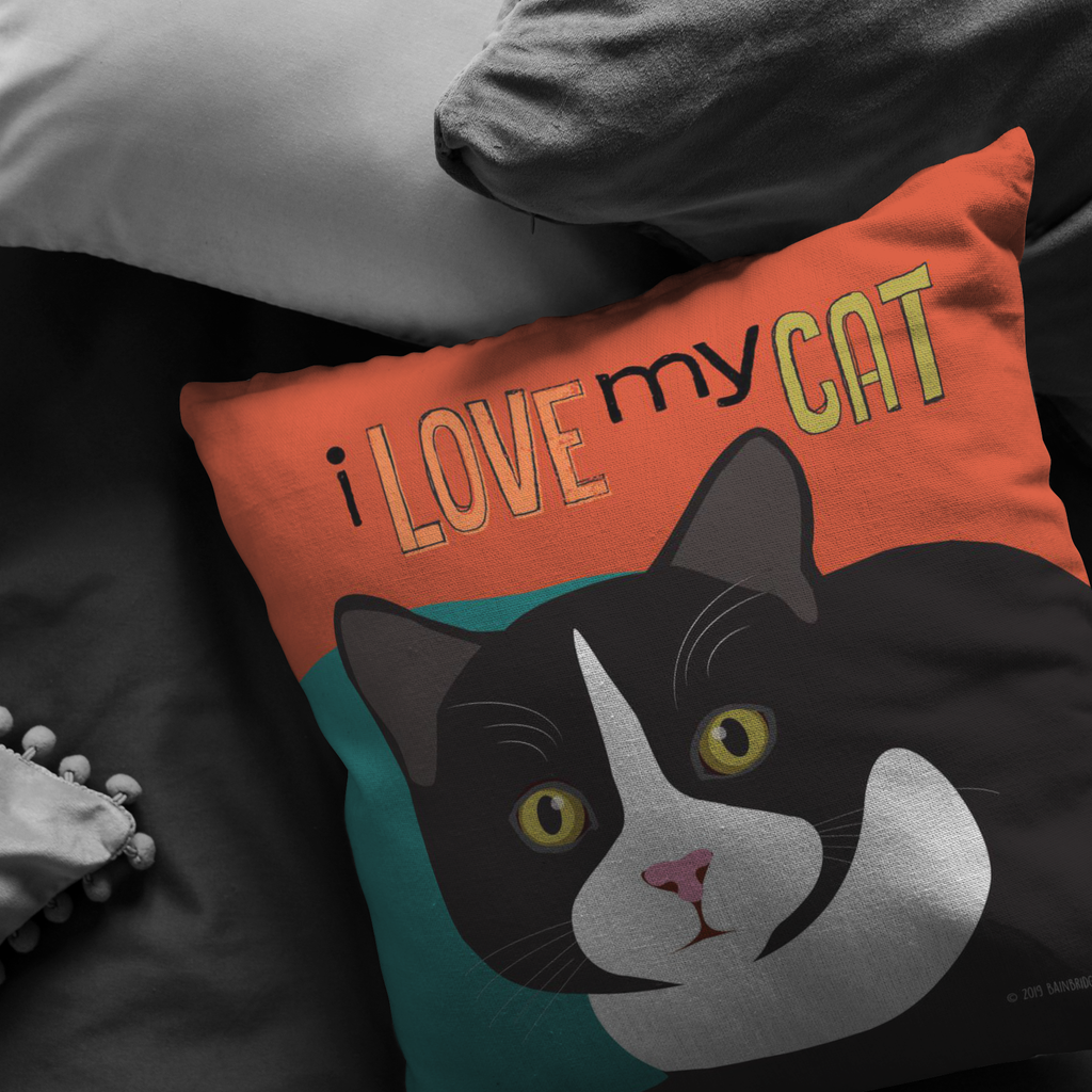 I Love My Cat Pillow