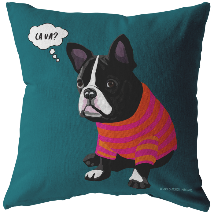 Frenchie (Black & White Dog) Ca Va? Pillow