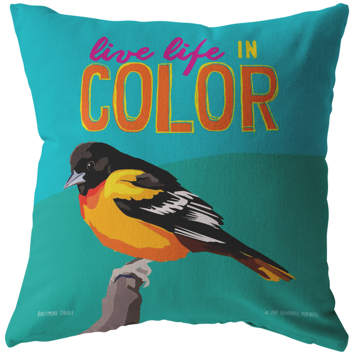 Live Life in Color (Baltimore Oriole) Pillow