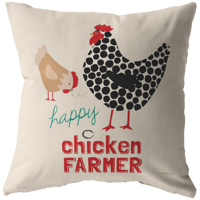 Happy Chicken Farmer Pillow