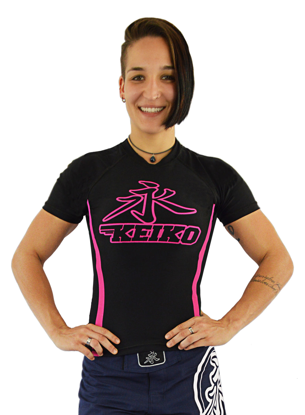 Speed Rash Guard S/S - Black/Pink