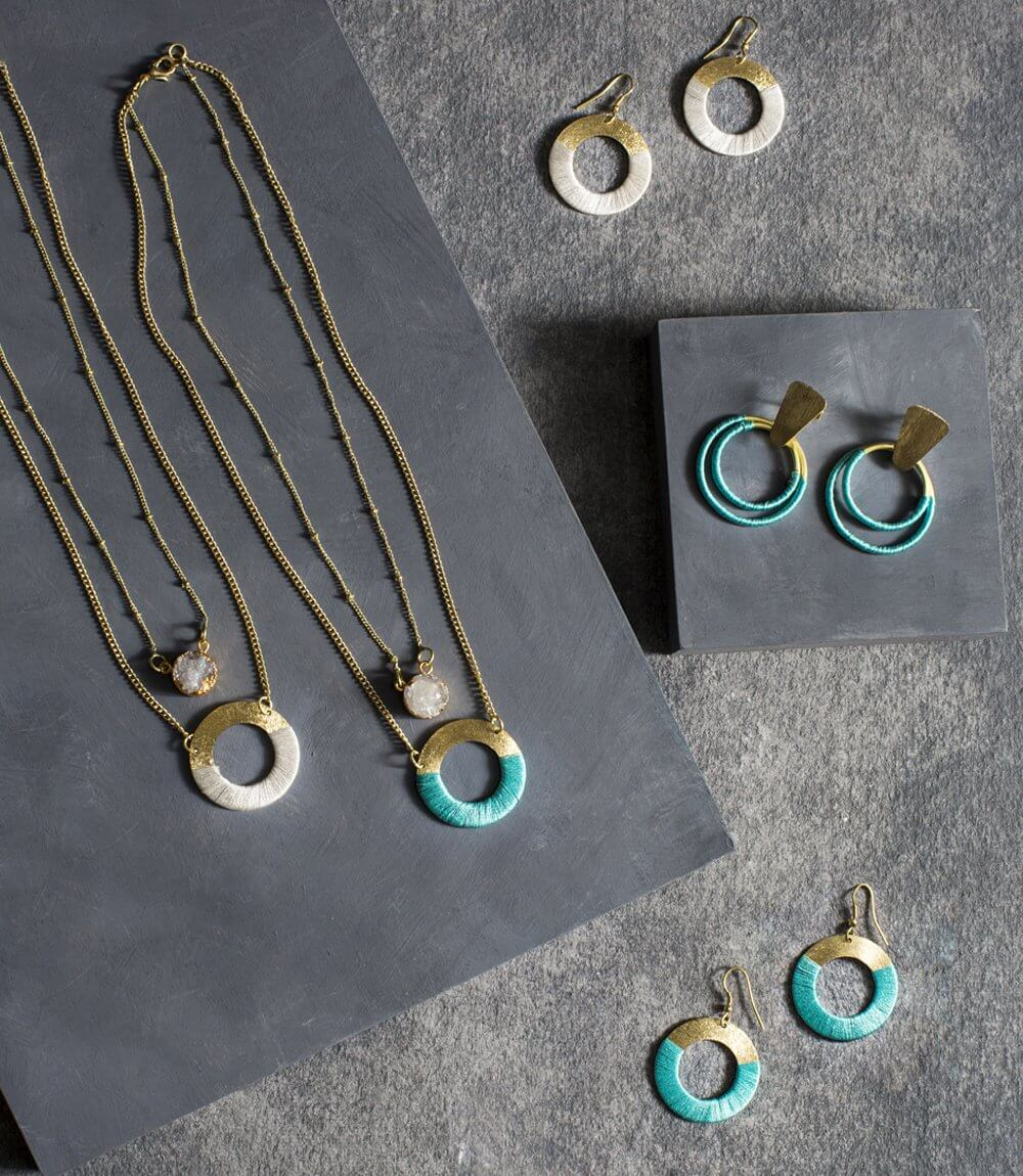 Kaia Druzy Necklace - Teal Disc