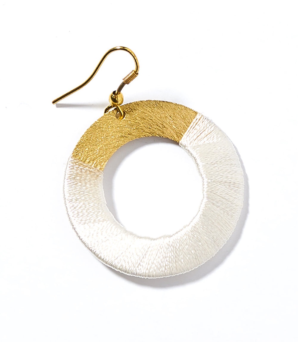 Kaia Earrings - White Disc