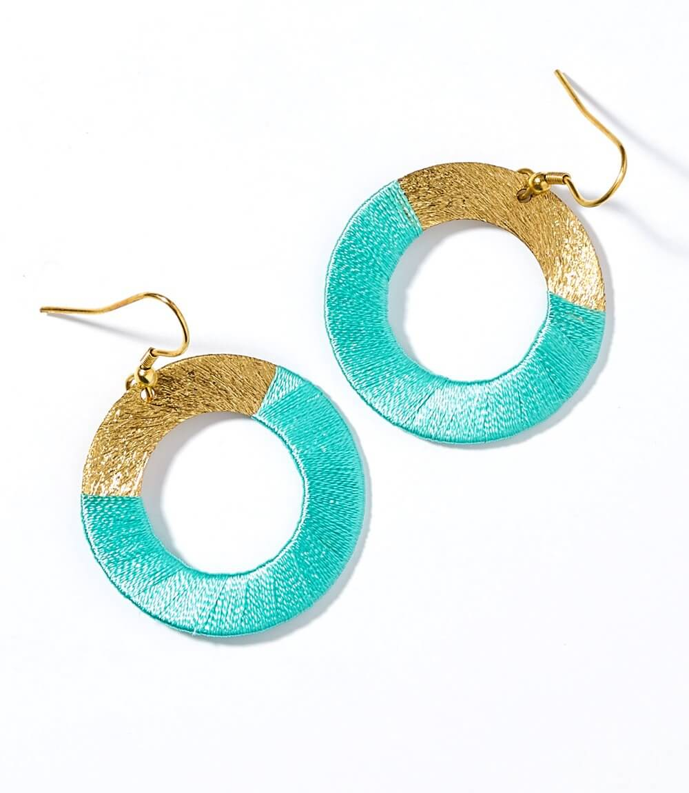 Kaia Earrings - Teal Disc