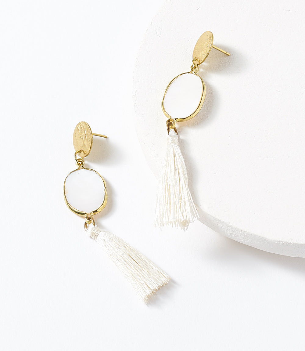 Dhavala Earrings - Tassel Drop