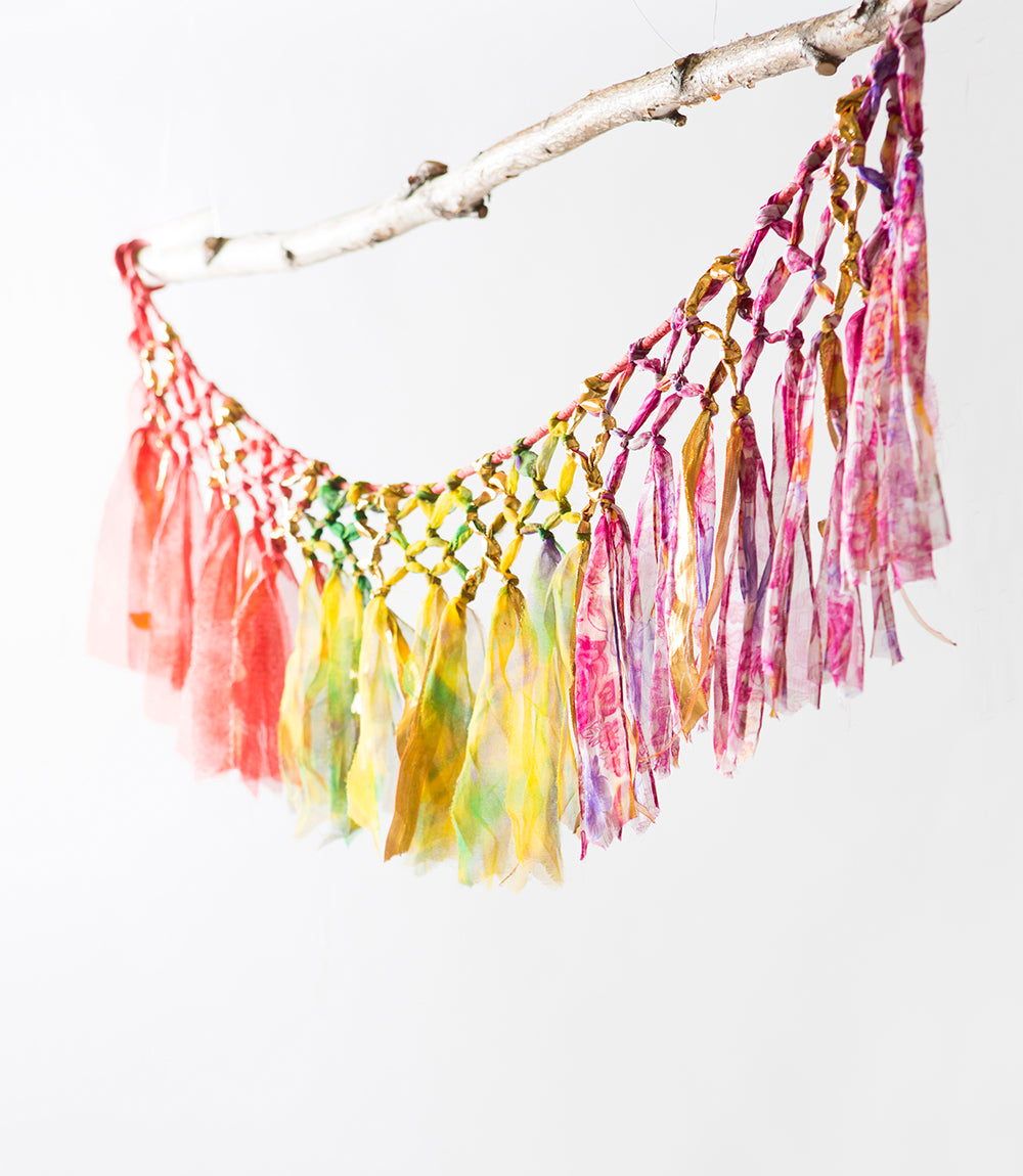 Gold and Sari Macrame Garland