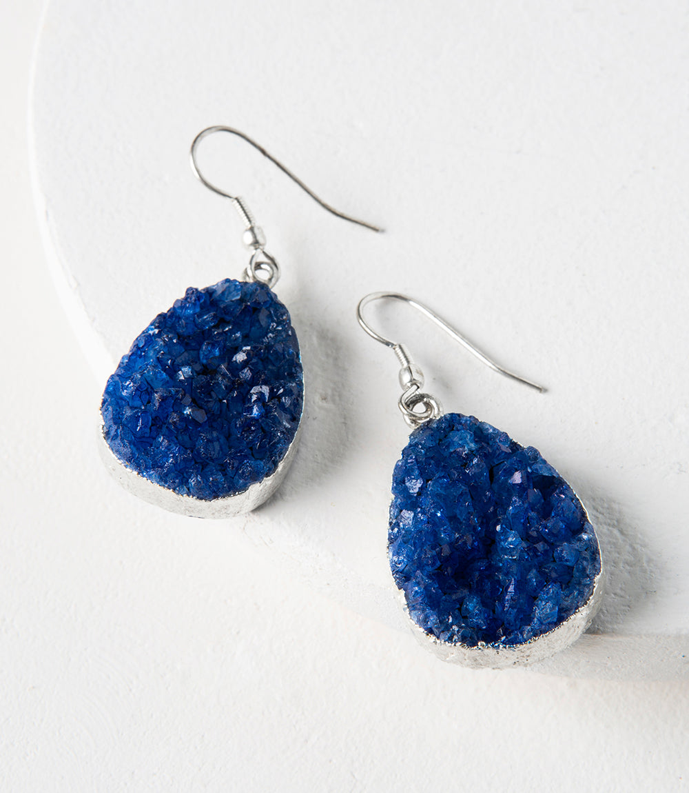 Rishima Druzy Drop Earrings - Amethyst