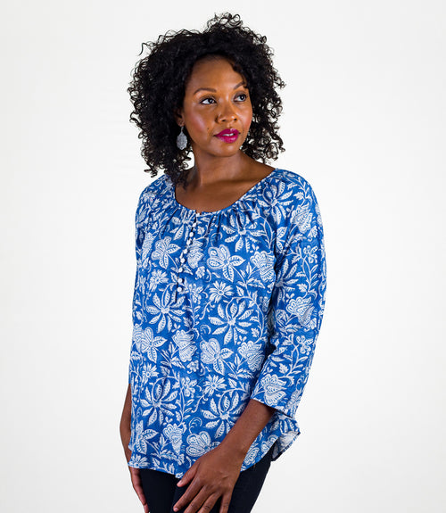 Kamila Blouse - Azure Bloom