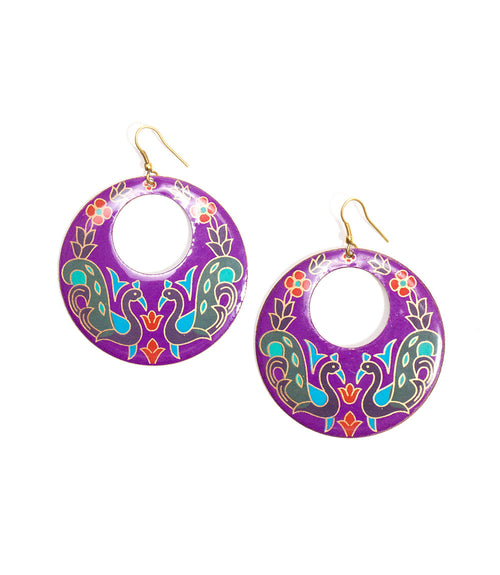 Peacock Garden Earrings - Purple