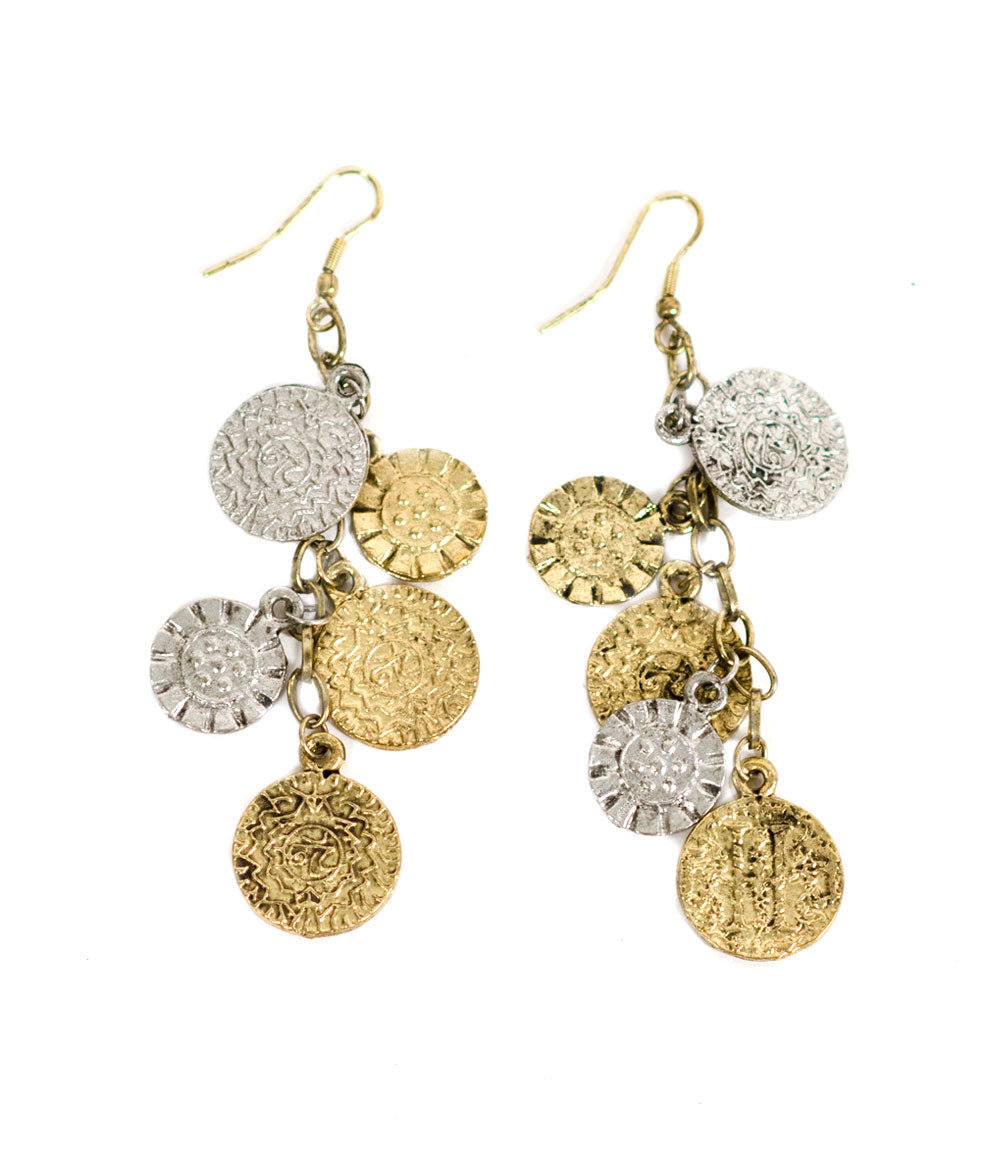 Coin and Flower Charm Earrings