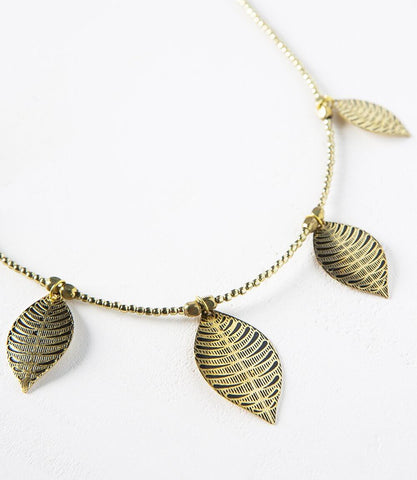 Ashram Window Necklace - Gold Patina