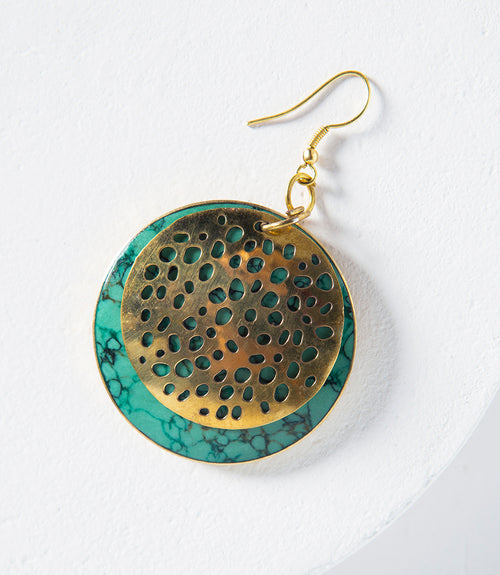 Tara Stone Medallion Earrings - Green