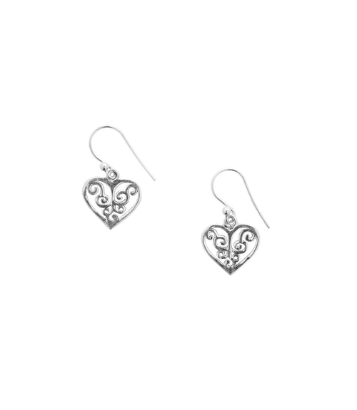 Shanasa Sterling Silver Charm Earrings - Love