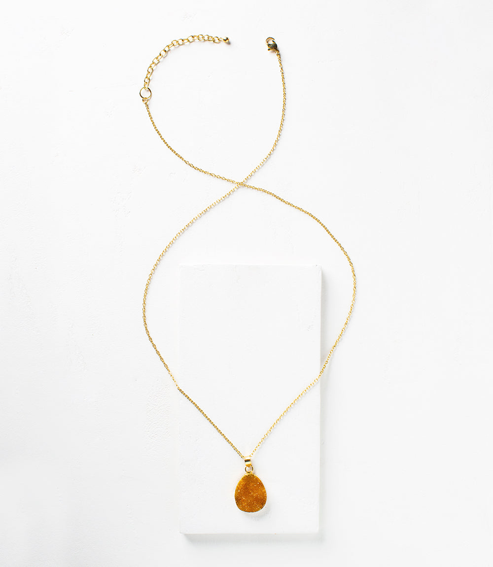 Rishima Druzy Drop Necklace - Citrine
