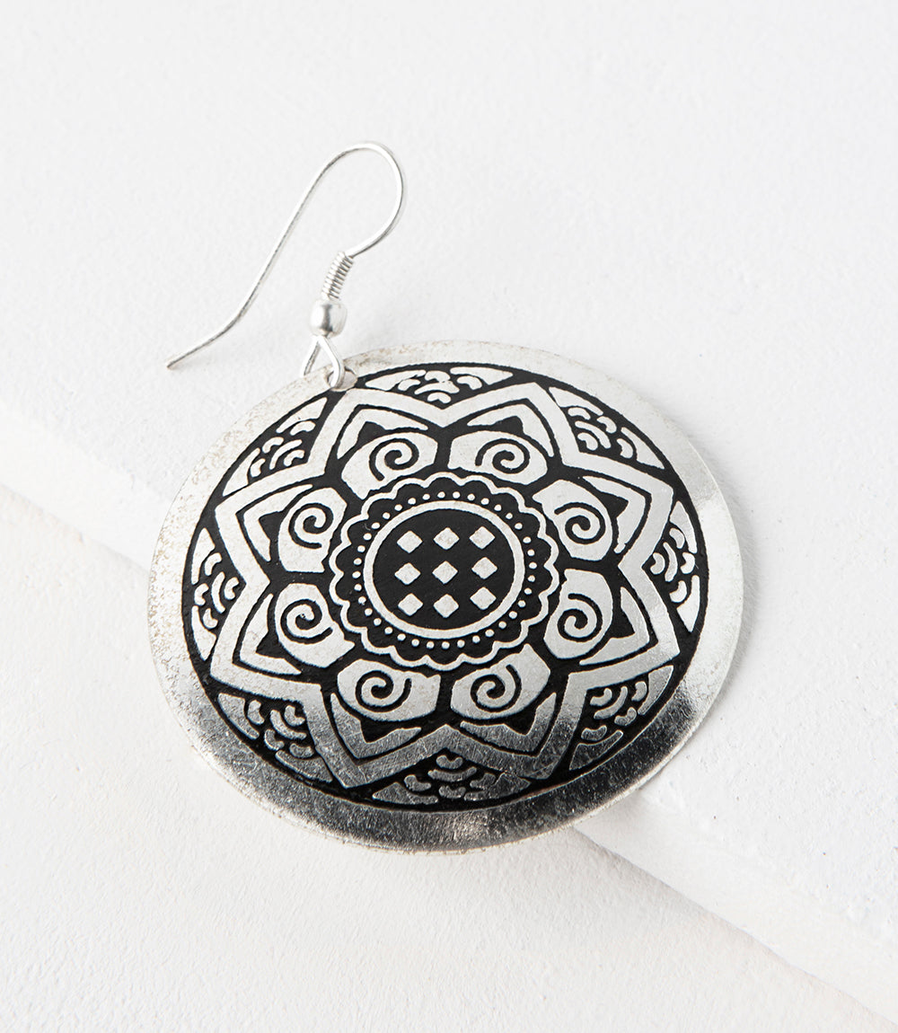 Sun Medallion Earrings - Silver