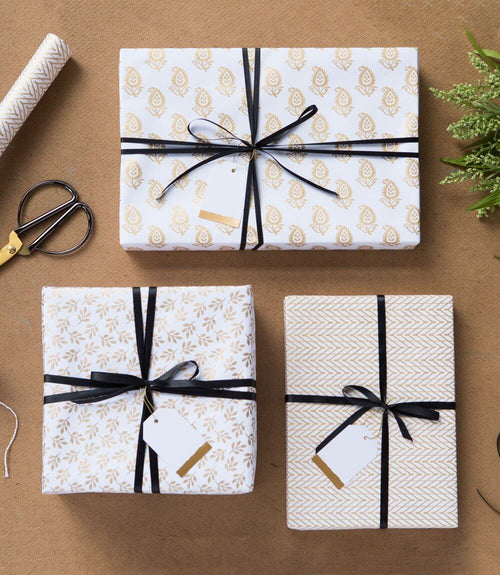 Harvest Gift Wrap - Assorted White (3 sheets per roll)