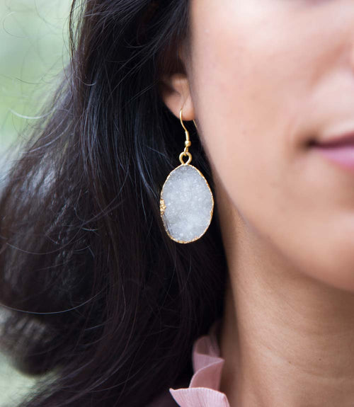 Rishima Druzy Drop Earrings - White
