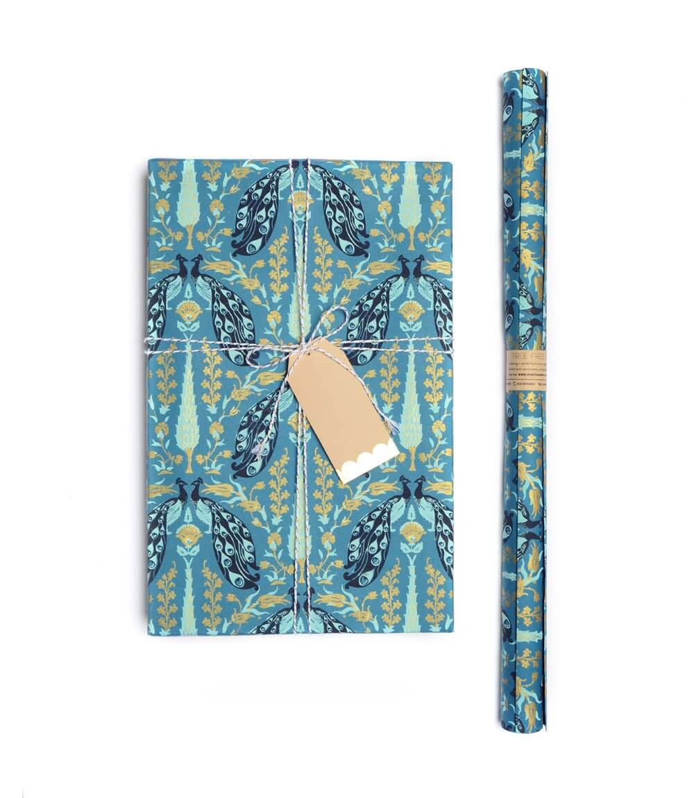 Fauna Gift Wrap - Blue Peacock (3 sheets per roll)