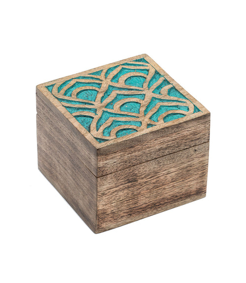 Holi Color Rub Keepsake Box - Peacock