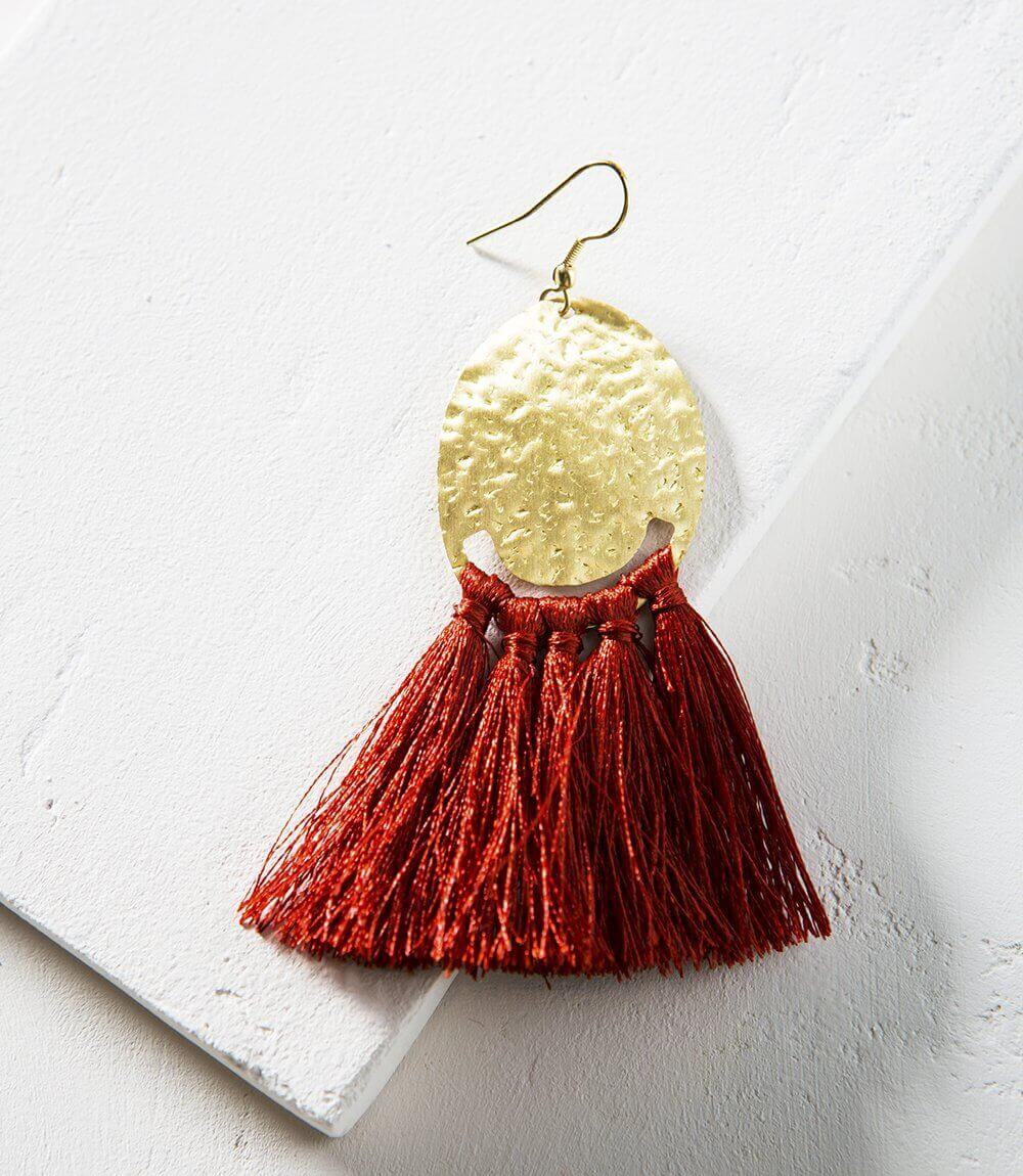 Nihira Tassel Earrings - Red