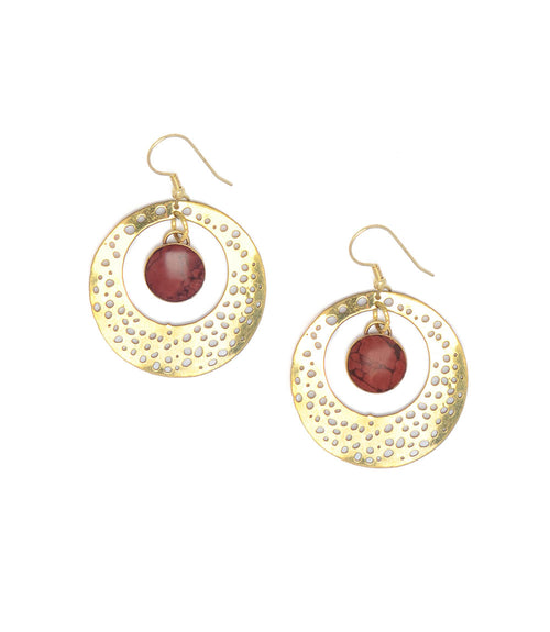 Tara Stone Medallion Earrings - Red