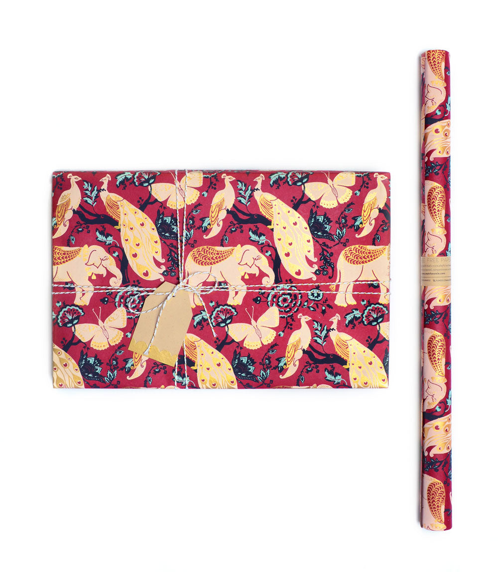 Fauna Gift Wrap - Red Garden (3 sheets per roll)