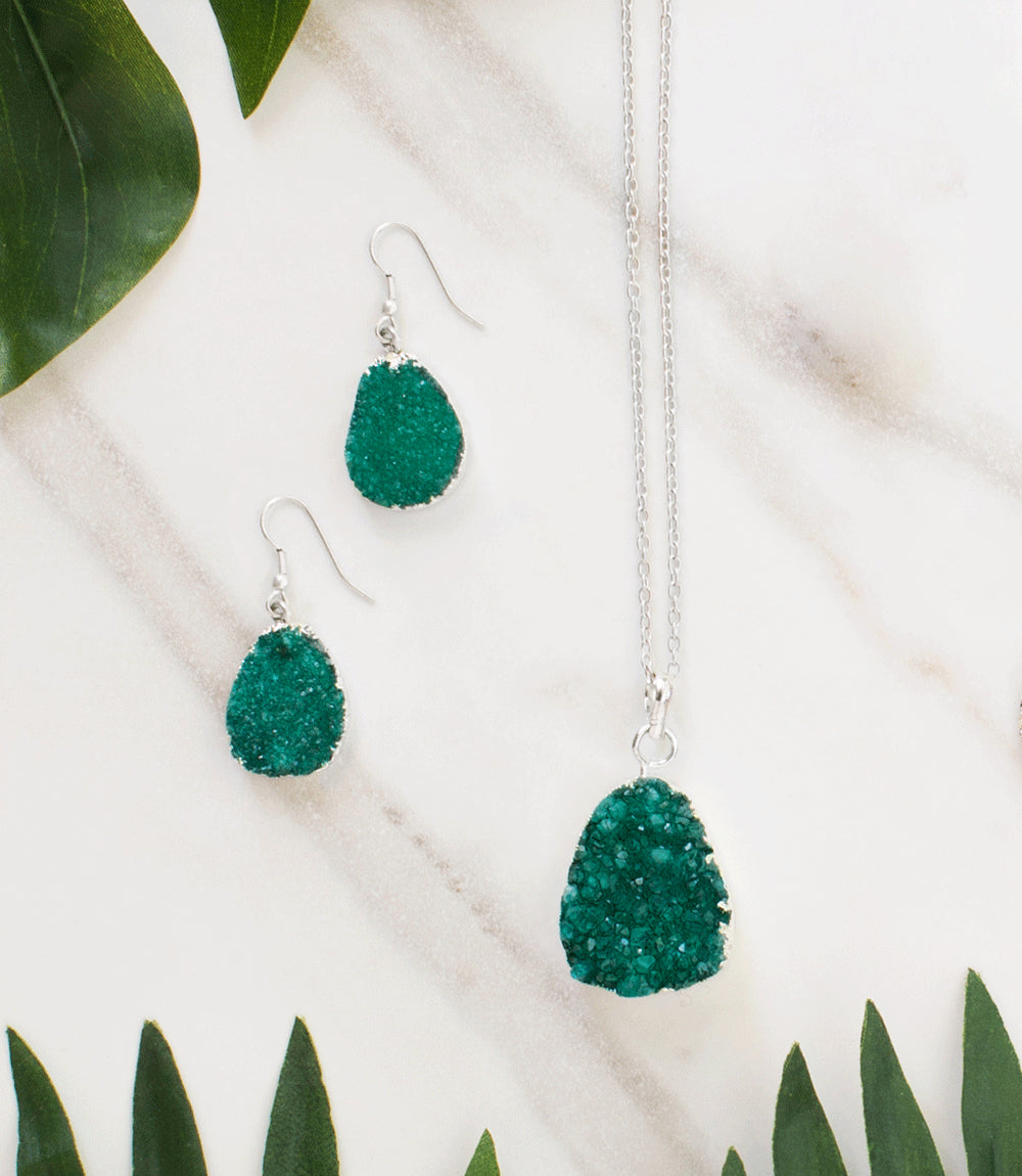 Rishima Druzy Drop Earrings - Seafoam