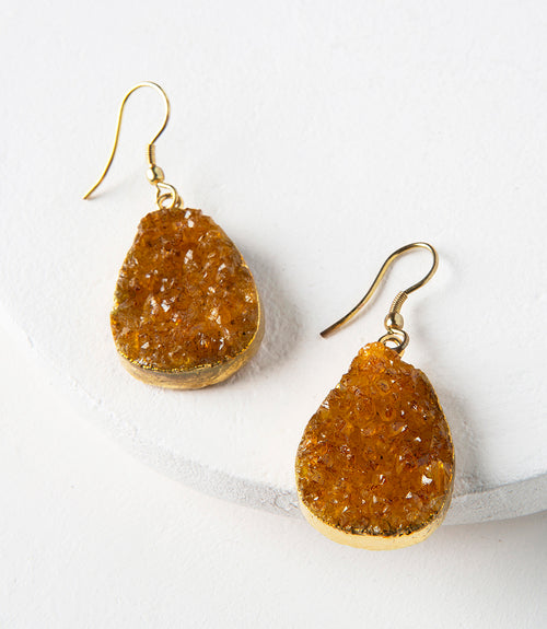 Rishima Druzy Drop Earrings - Citrine