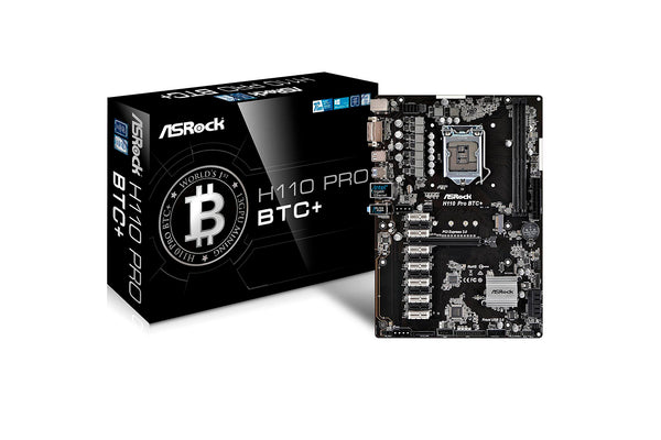 ASRock H110 Pro BTC+ LGA 1151 Intel H110 SATA 6Gb/s USB 3.0 ATX Intel for Cryptocurrency Mining (BTC) Motherboard