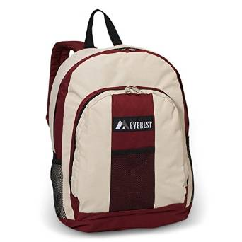 Everest Luggage Backpack with Front and Side Pockets  - Deep Red/Beige
