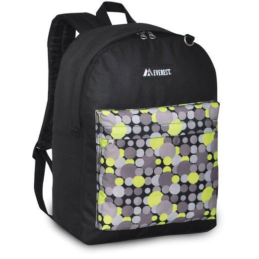 Everest Luggage Classic Backpack - Black/Yellow Dot